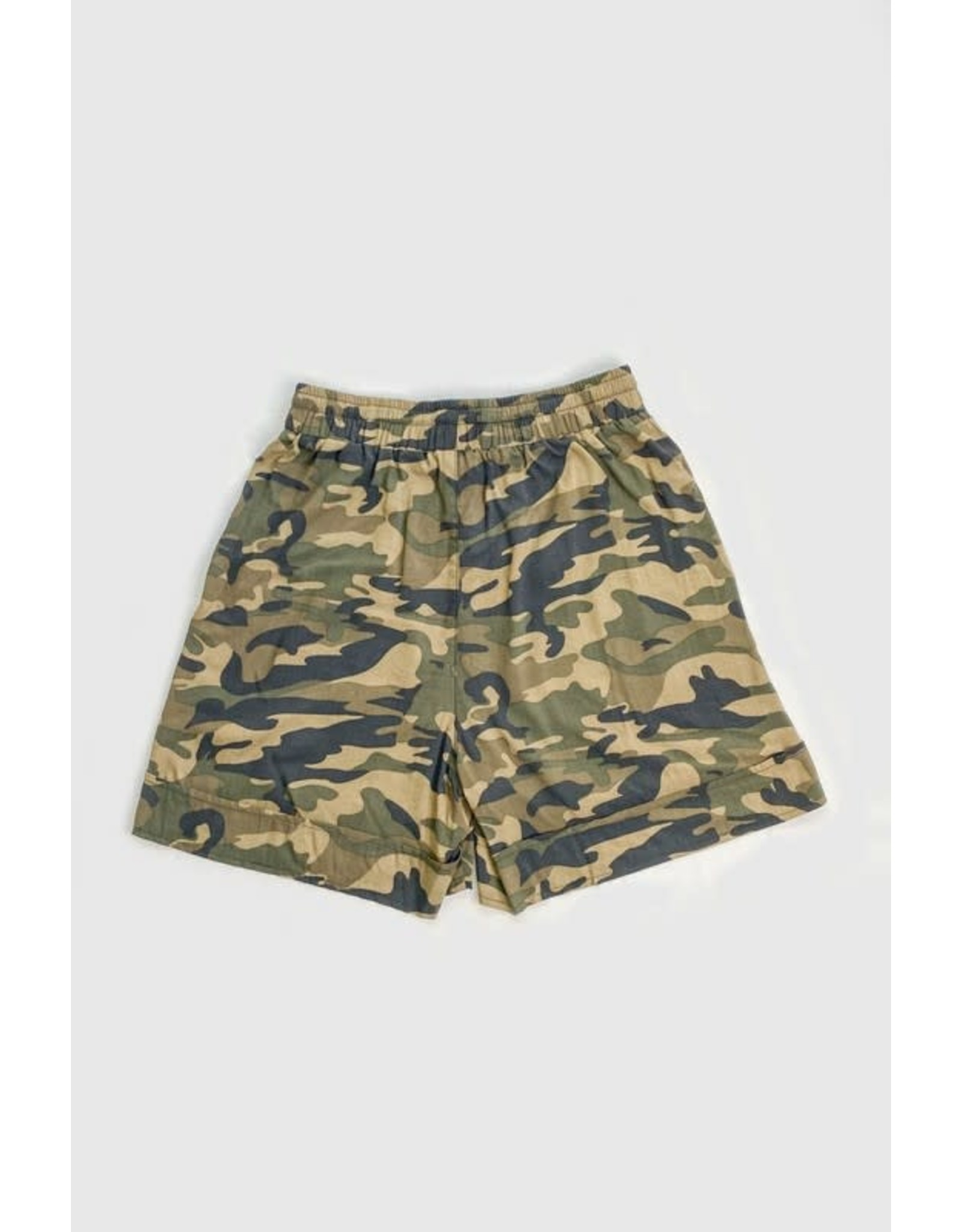 AND THE WHY SOFT WOVEN CAMO SHORTS WITH SIDE POCKETS
