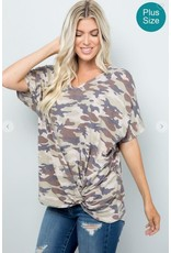 OLIVE CAMO PRINT VNECK DOLMAN SLEEVE TOP WITH TWIST FRONT