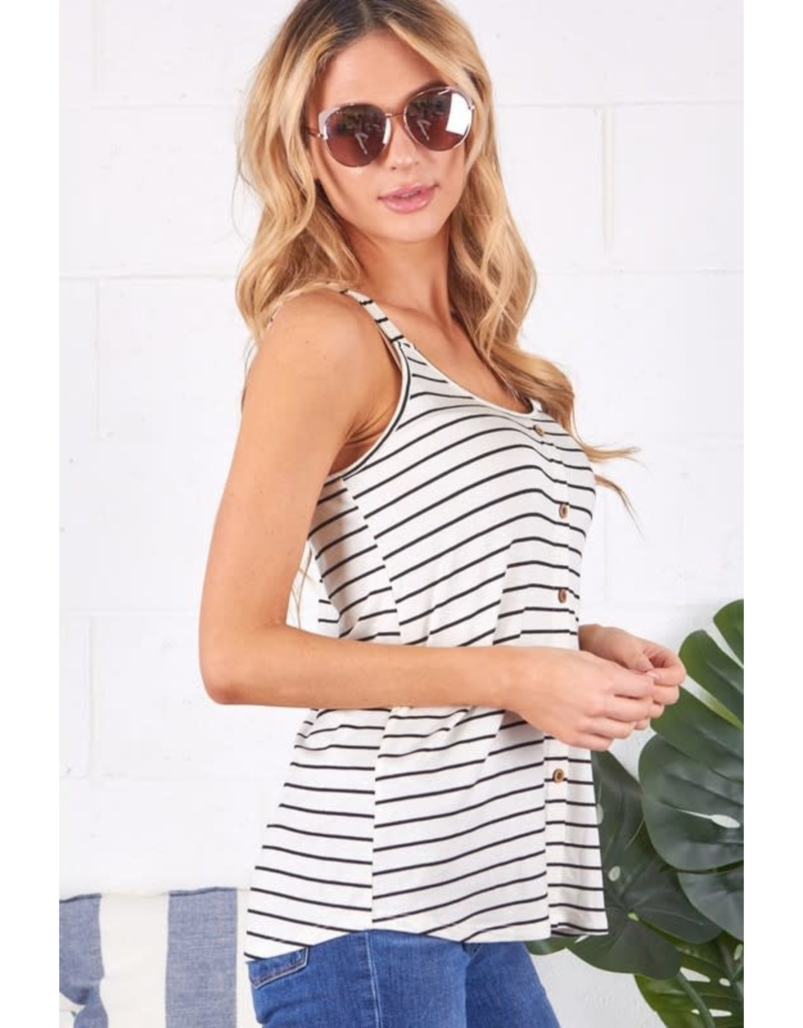 IVORY / BLACK STRIPED TANK WITH BUTTON FRONT DETAIL