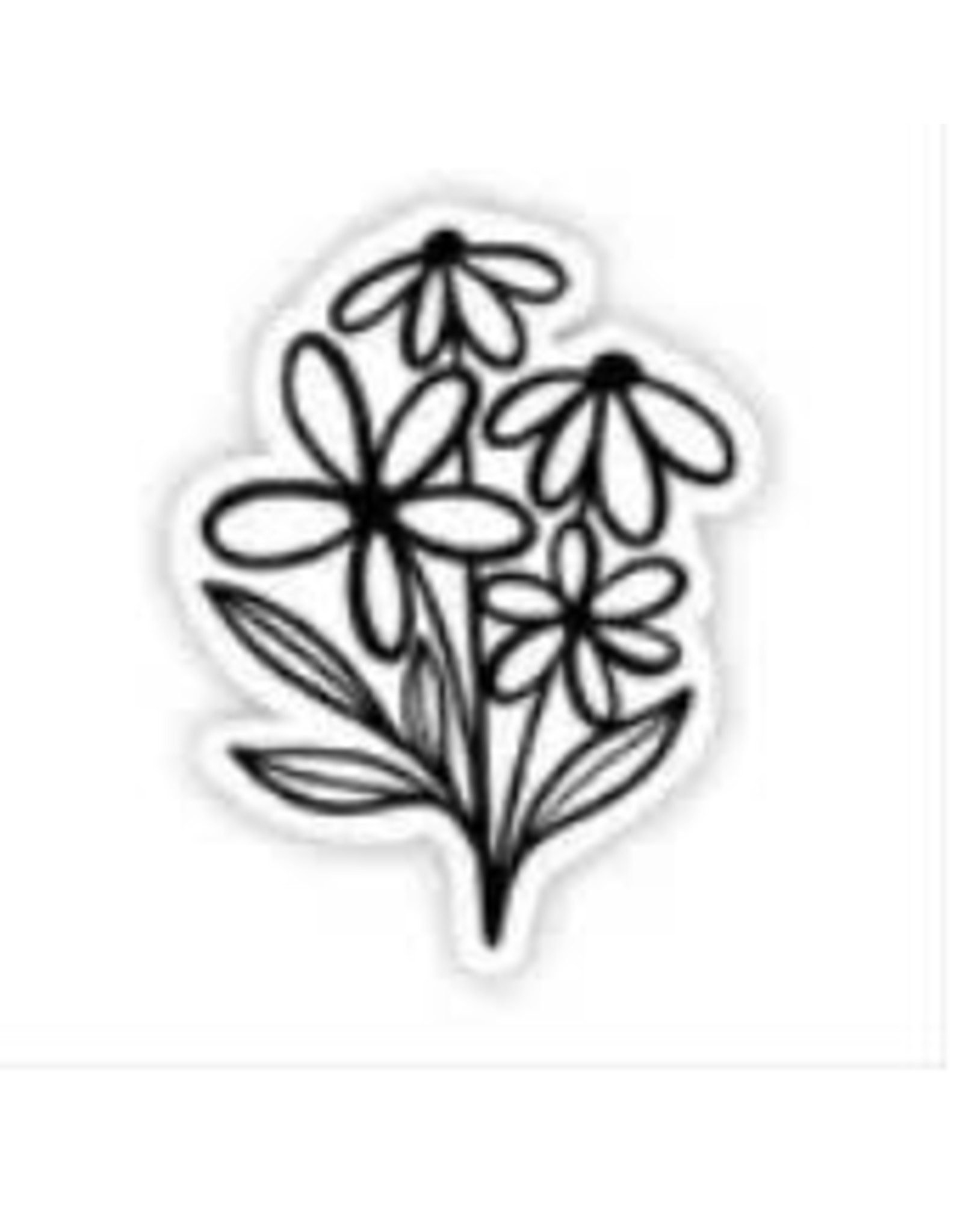 BIG MOODS FOUR BLACK AND WHITE FLOWERS STICKER