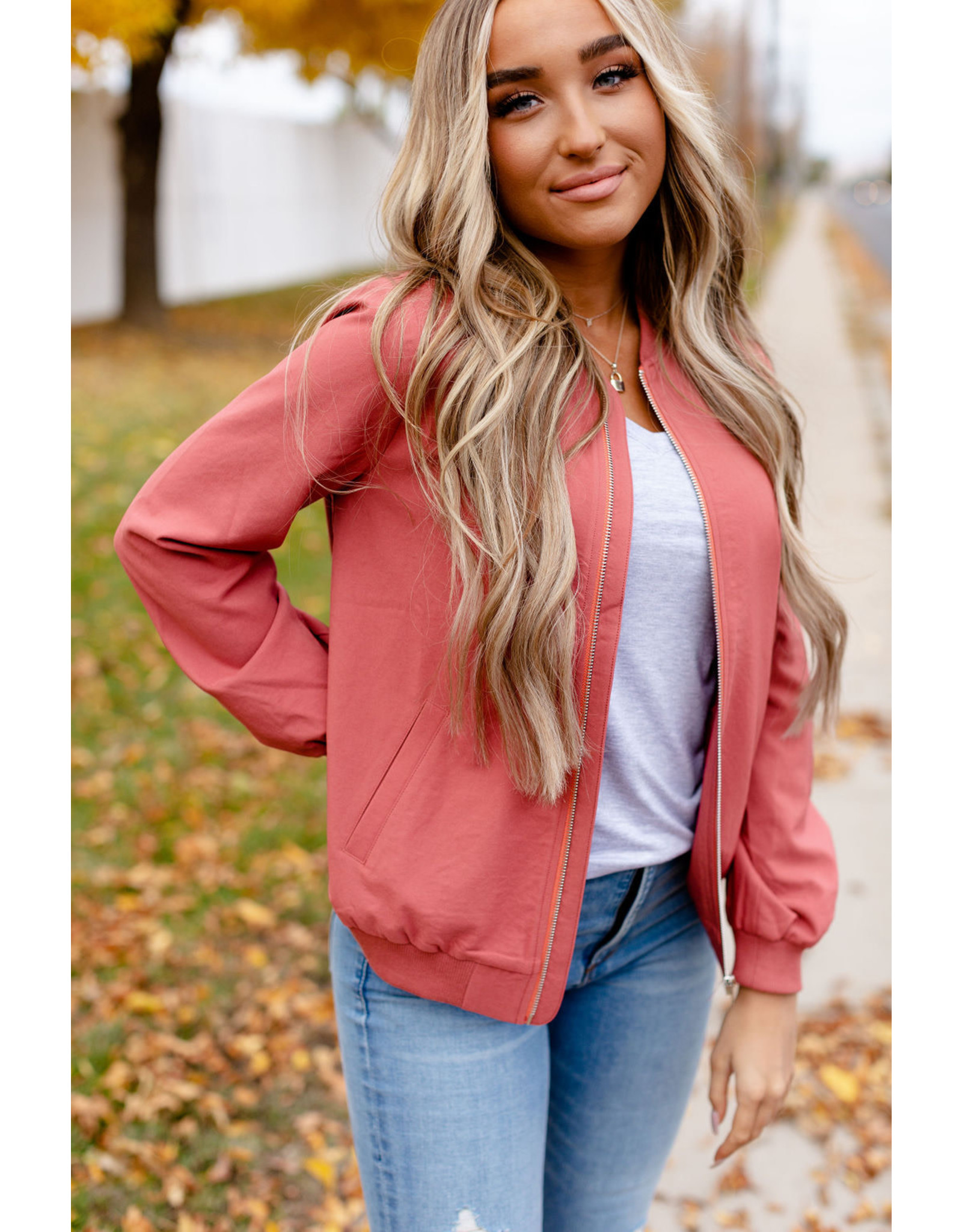AA COOL GIRL BOMBER JACKET - MARSALA