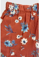 AND THE WHY RUST SOFT WOVEN FLORAL PRINT SHORTS W/ POCKETS