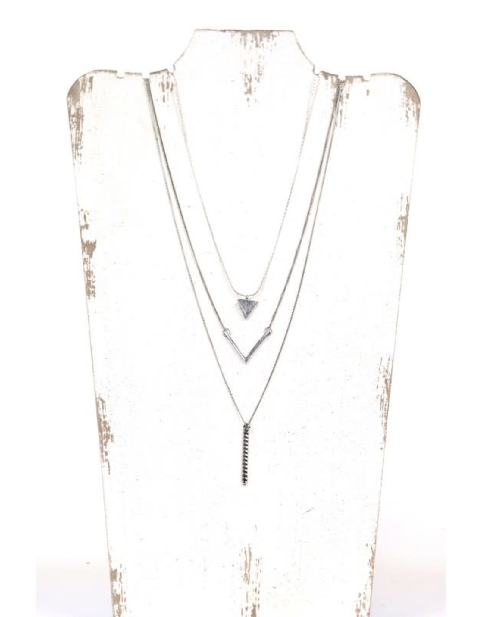 SILVER TRIPLE LAYER TRIANGLE NECKLACE N-119