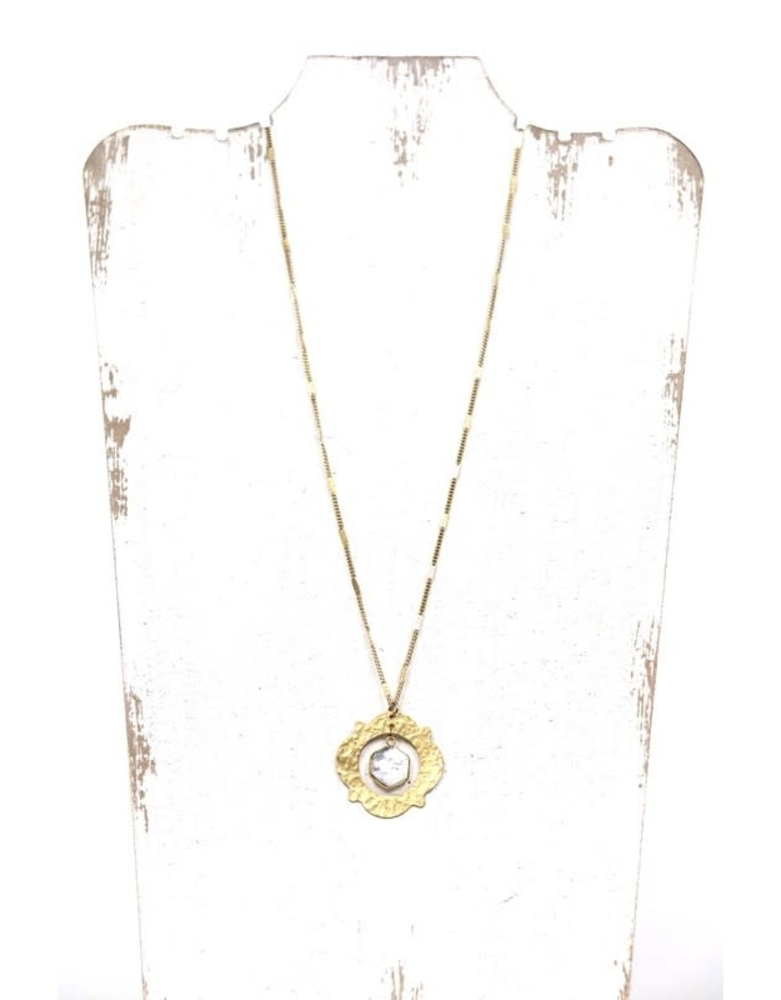 LONG GOLD PENDANT NECKLACE W/ HEXAGON GEMSTONE N-111