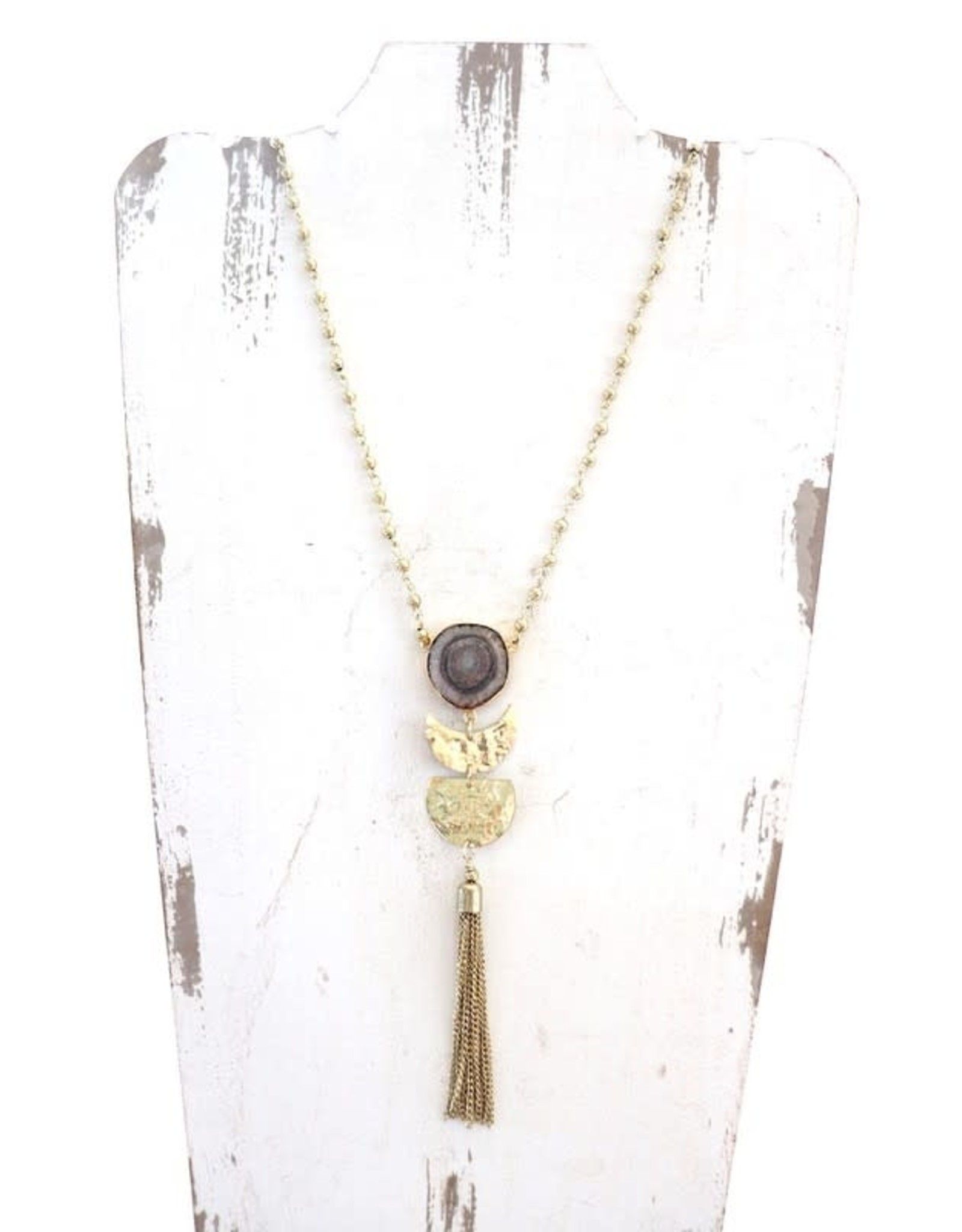 LONG GOLD NECKLACE W/ GREY GEO STONE AND CHAIN TASSEL N-39