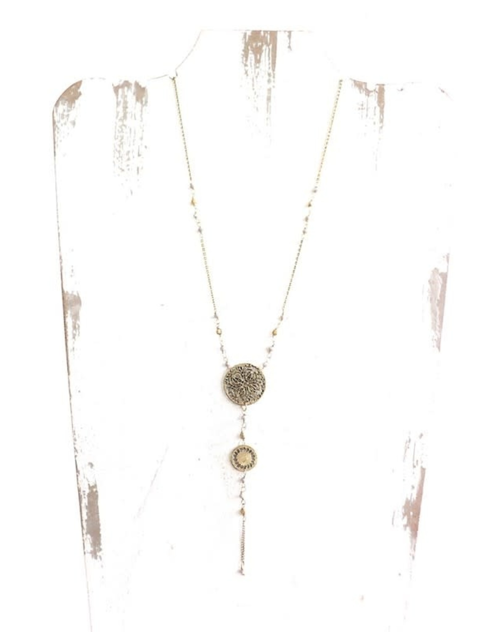 LONG BRASS PRESSED MEDALLION W/ BEAD NECKLACE N-57