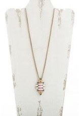 GOLD MULTI PINK GEO GEMSTONE PENDANT NECKLACE NAE-649