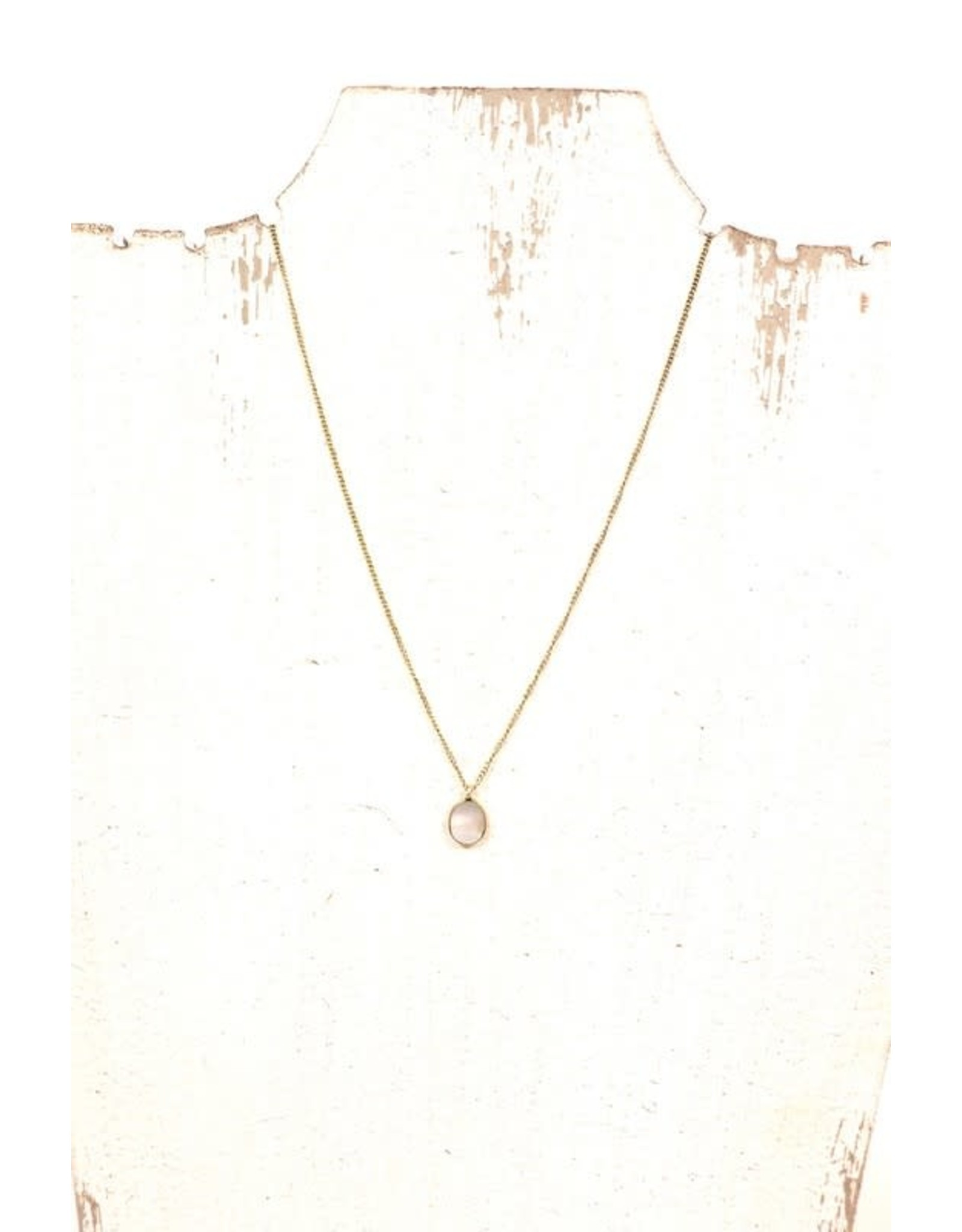 GOLD OPAL PRECIOUS STONE CHARM NECKLACE N-147