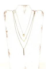 GOLD TRIPLE LAYER TRIANGLE NECKLACE N-118