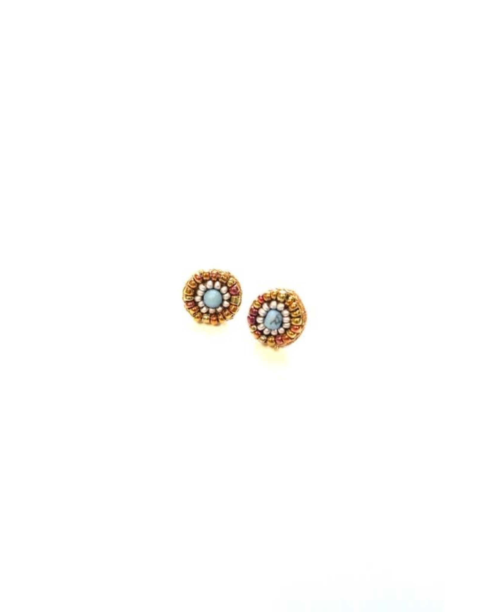 GOLD TURQ BEADED STUD EARRING E-223