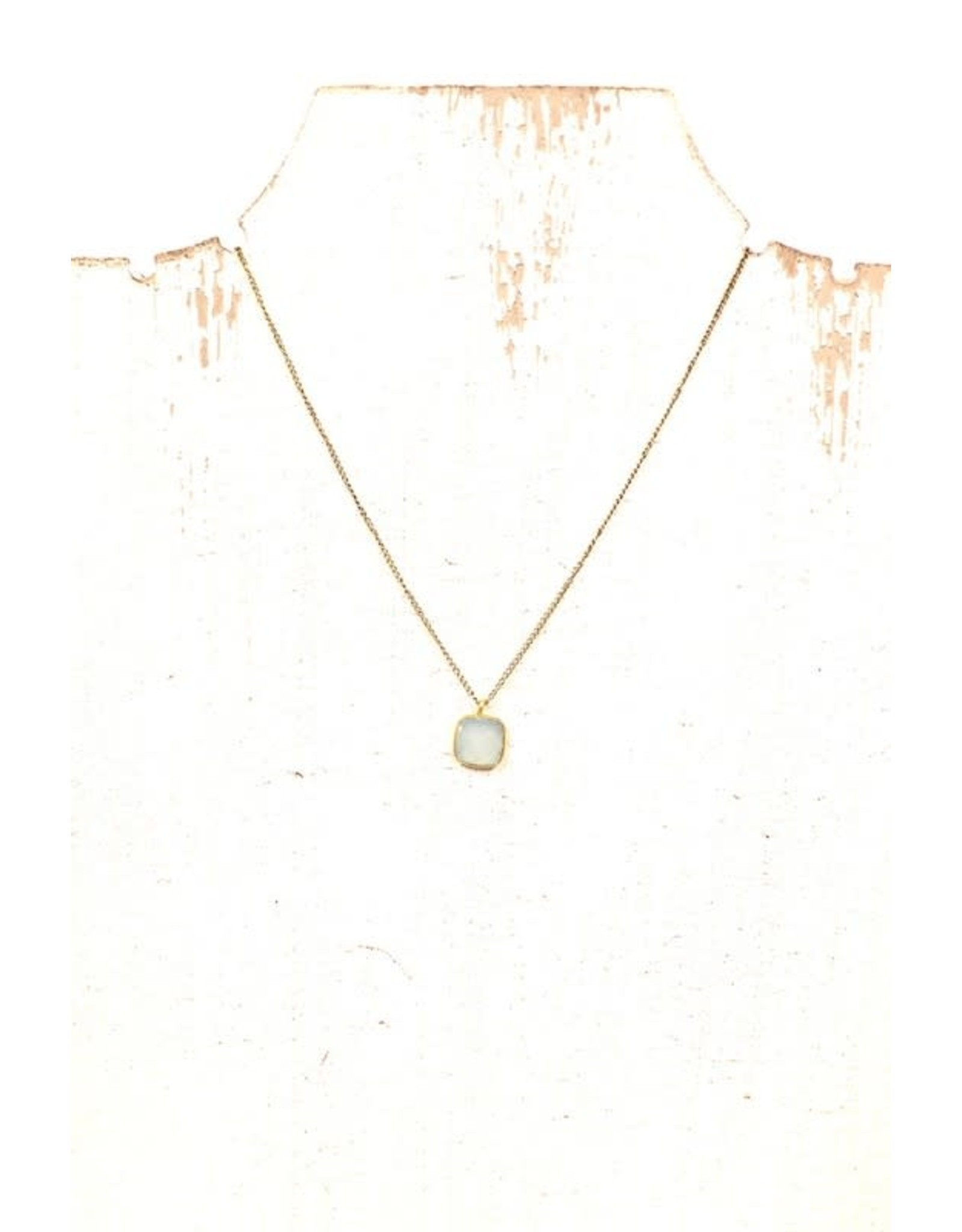 GOLD WHITE MINT PRECIOUS STONE CHARM NECKLACE N-141