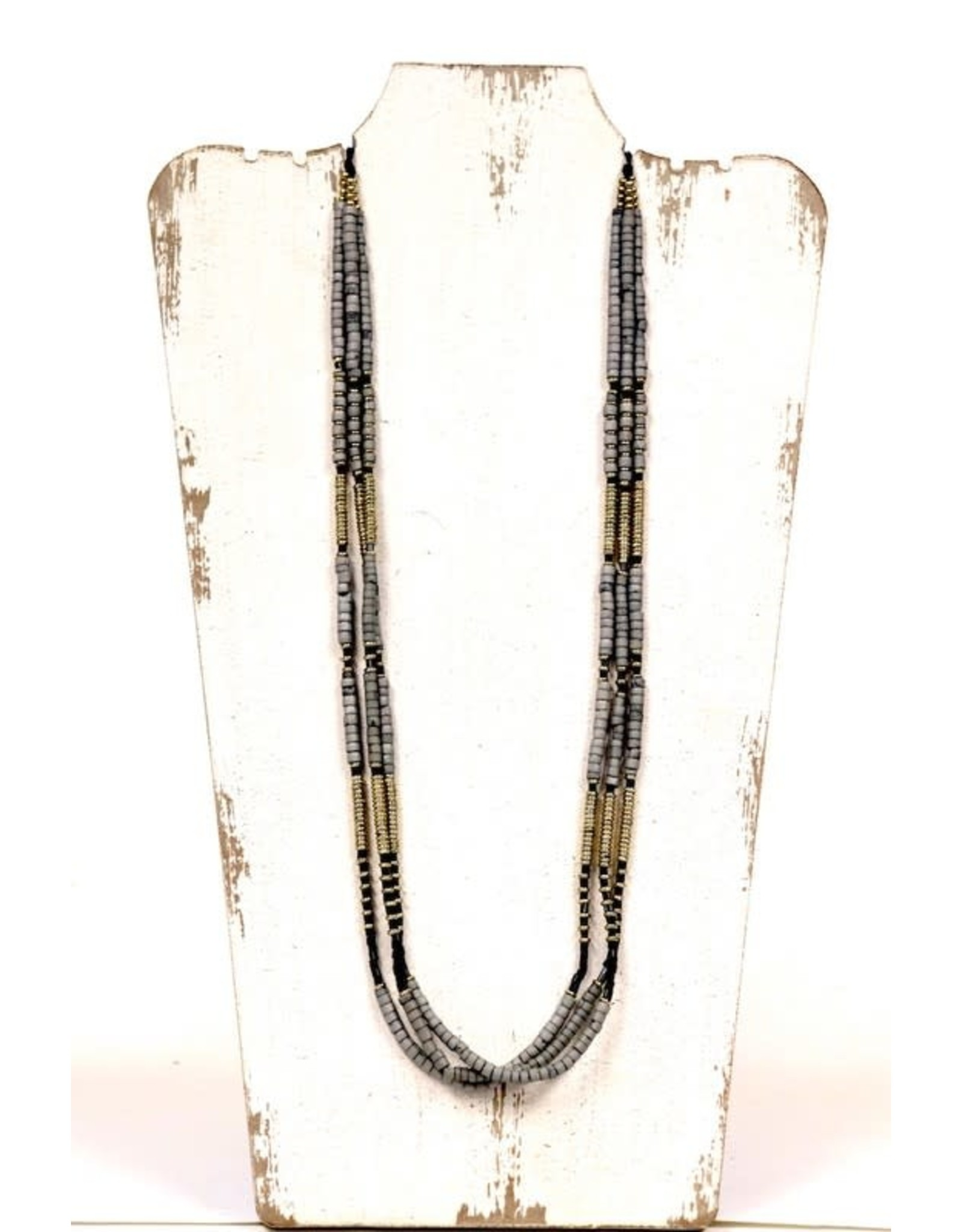 GOLD GREY BLACK LONG BEADED MULTI STRAND NECKLACE N-125