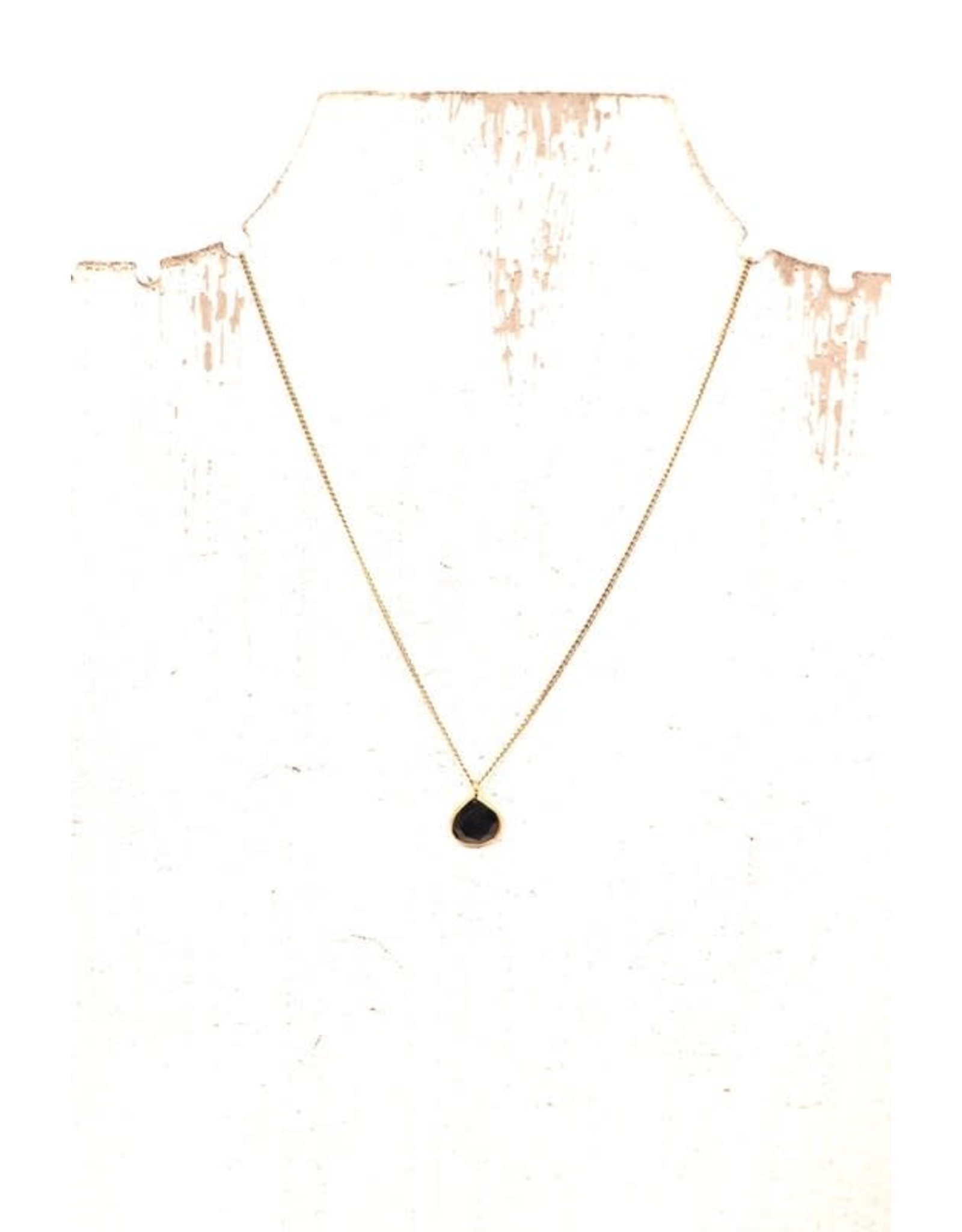 GOLD BLACK PRECIOUS STONE CHARM NECKLACE N-146