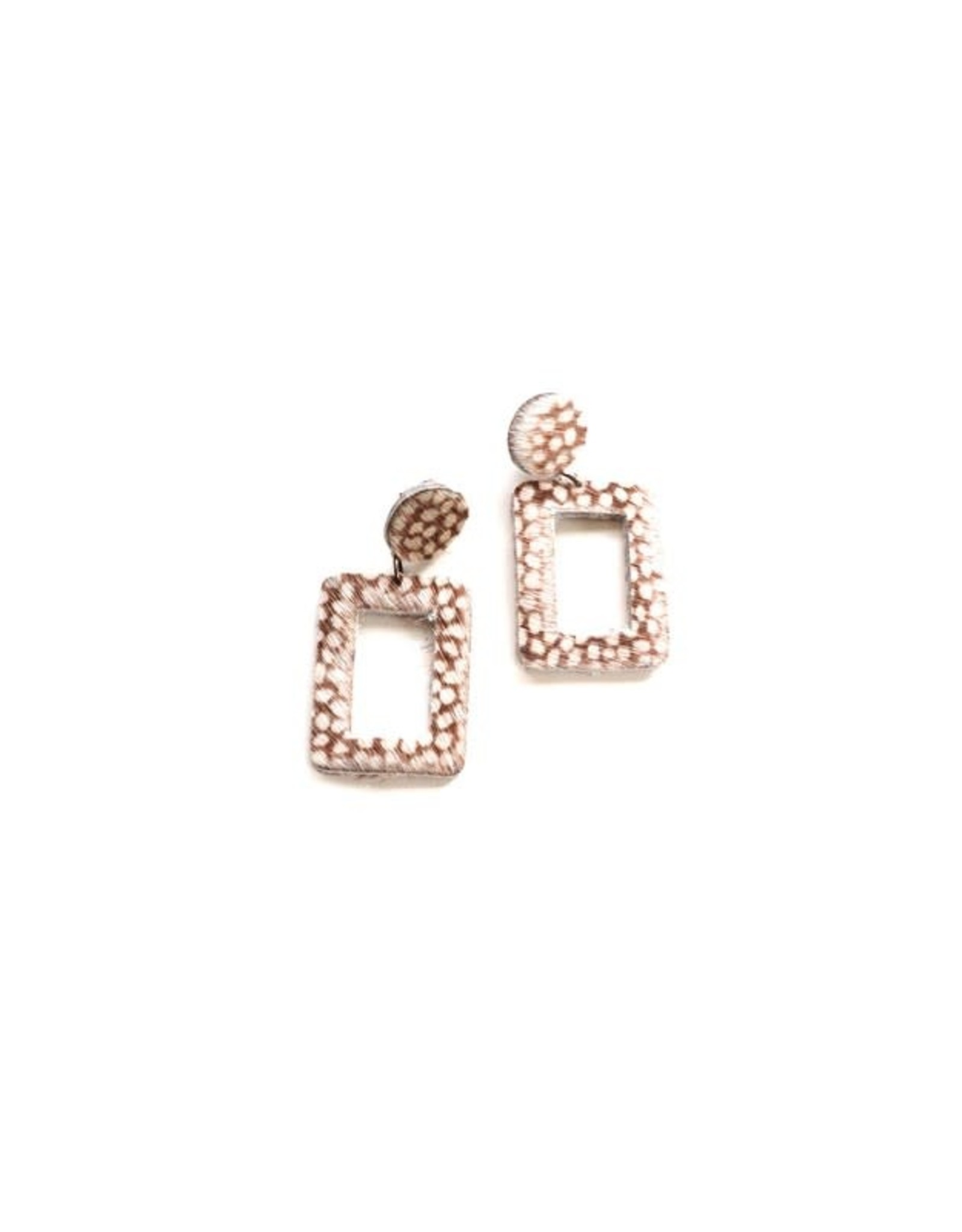 FAWN PRINTED SQUARE DROP EARRING E-190