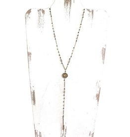 BRASS SKINNY MEDALLION CHAIN DROP NECKLACE N-85