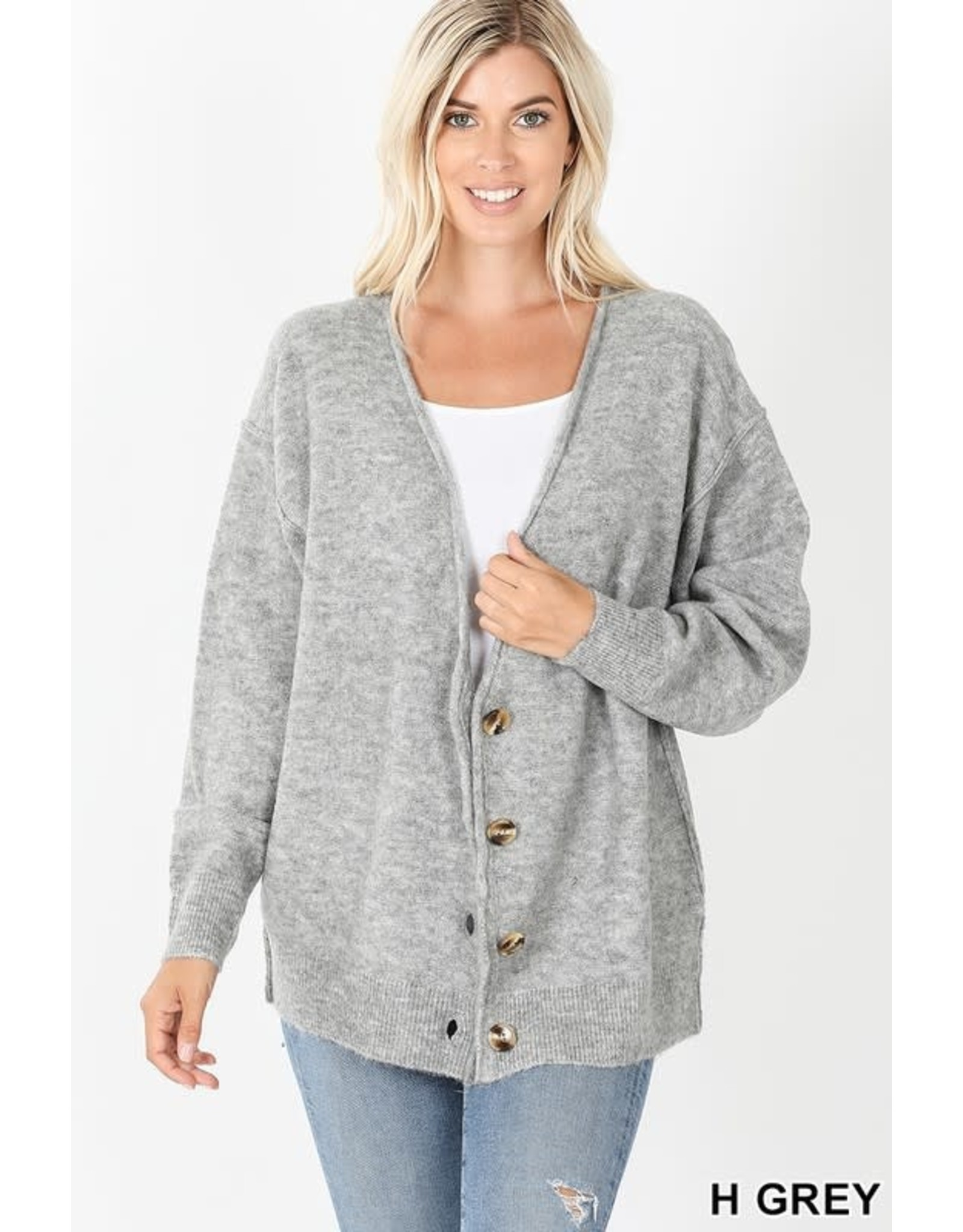 OVERSIZED BUTTON DOWN SWEATER CARDIGAN