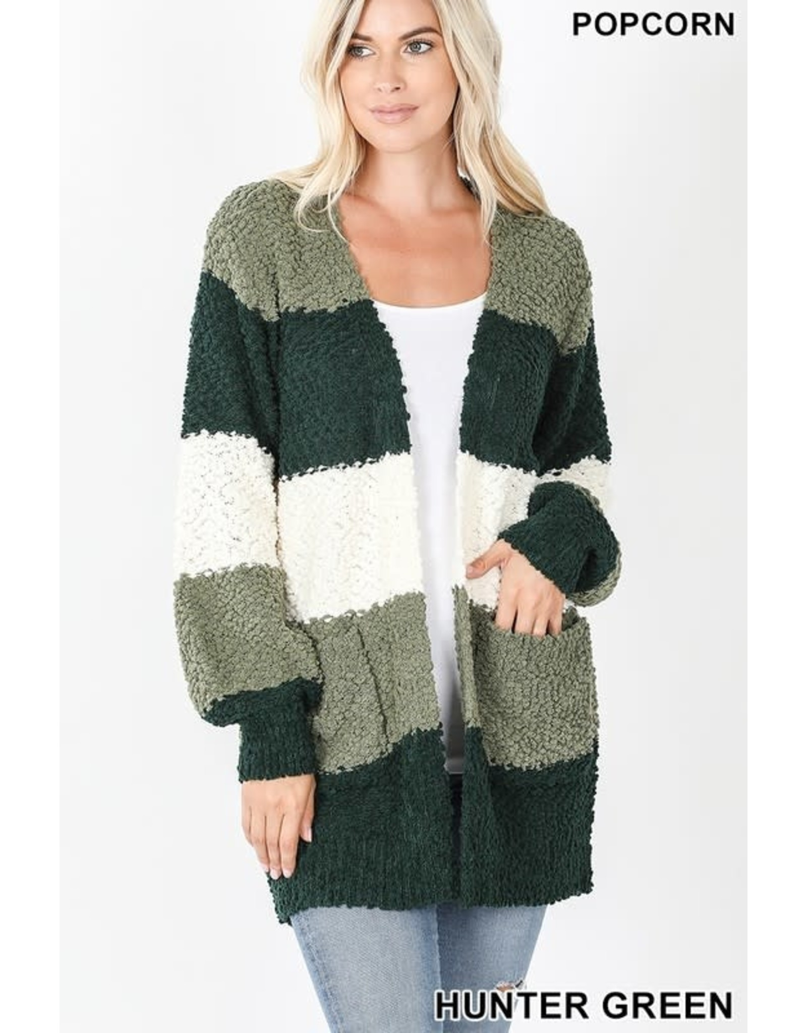 HUNTER GREEN COLORBLOCK BALLOON SLEEVE POPCORN CARDI W/ POCKETS