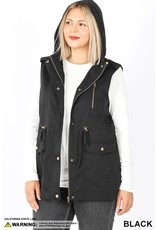 DRAWSTRING WAIST MILITARY HOODIE VEST WITH POCKETES