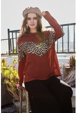 MAINSTRIP RUST ROUND NECK LEOPARD CHEVRON CONTRAST LONG SLEEVE TOP