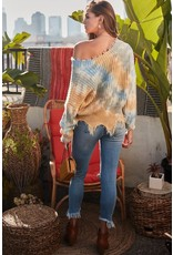 MAINSTRIP DISTRESSED VNECK LOOSE FIT TIEDYE VNECK SWEATER