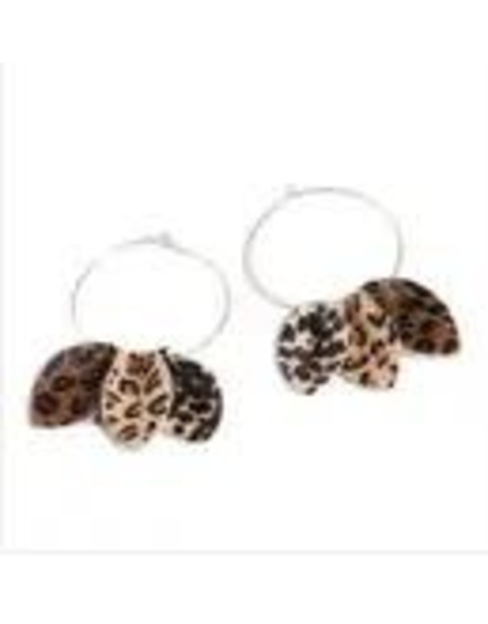 LEOPARD PETAL HOOP EARRINGS