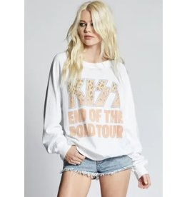 "RECYCLED KARMA WHITE ""KISS END OF THE ROAD"" LONG SLEEVE CREW SWEATSHIRT"