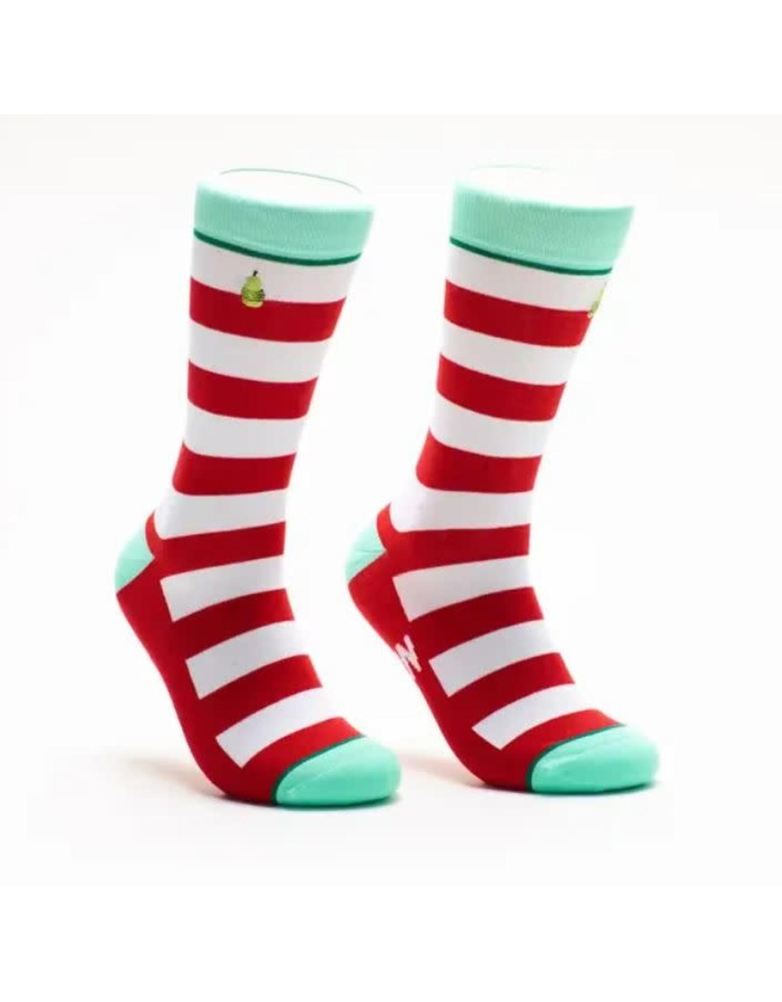 WOVEN PEAR CHRISTMAS CREW SOCKS -