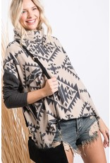 FIRST LOVE CHARCOAL GREY AZTEC PRINT BLOCKED LONG SLEEVE TOP WITH COWL NECKLINE