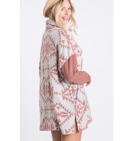 FIRST LOVE DUSTY MAUVE AZTEC PRINT BLOCKED LONG SLEEVE TOP WITH COWL NECKLINE