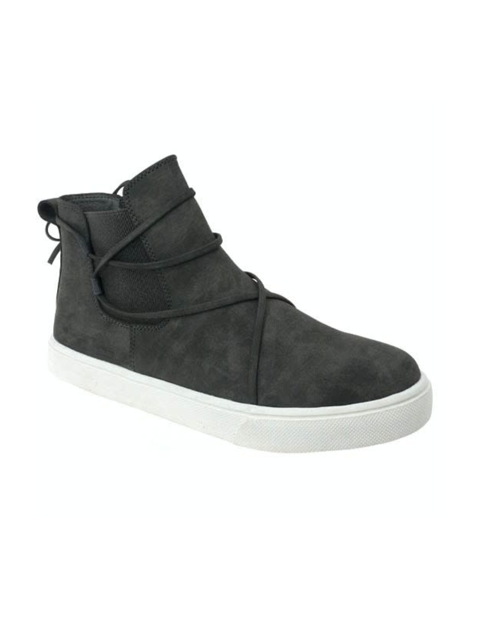 MIAMI SHOE WHOLESALE LANA CHARCOAL HIGH TOP STRETCH SIDE SNEAKER