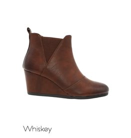 MIAMI SHOE WHOLESALE SABI WHISKEY BROWN WEDGE HEEL BOOTIE