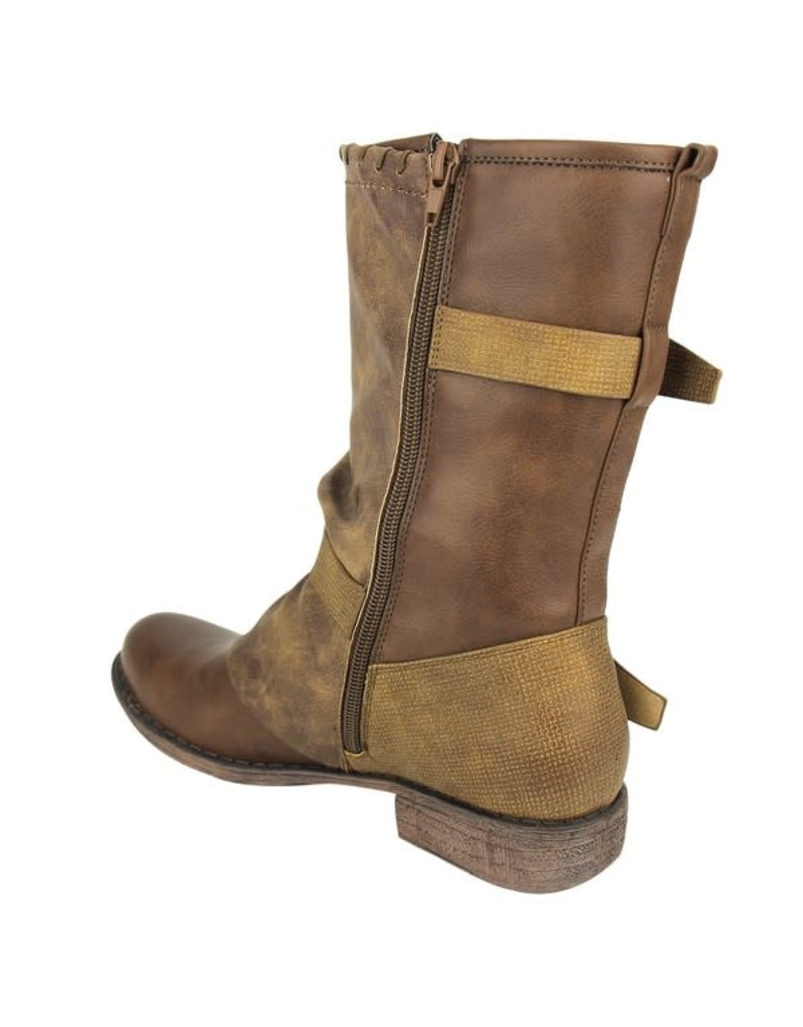 NOT RATED FLORENCE MID CALF BROWN WESTERN ROUND TOE W/ BUCKLES