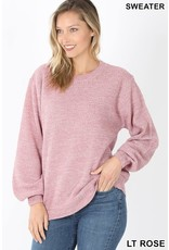 BALLOON SLEEVE MELANGE SWEATER