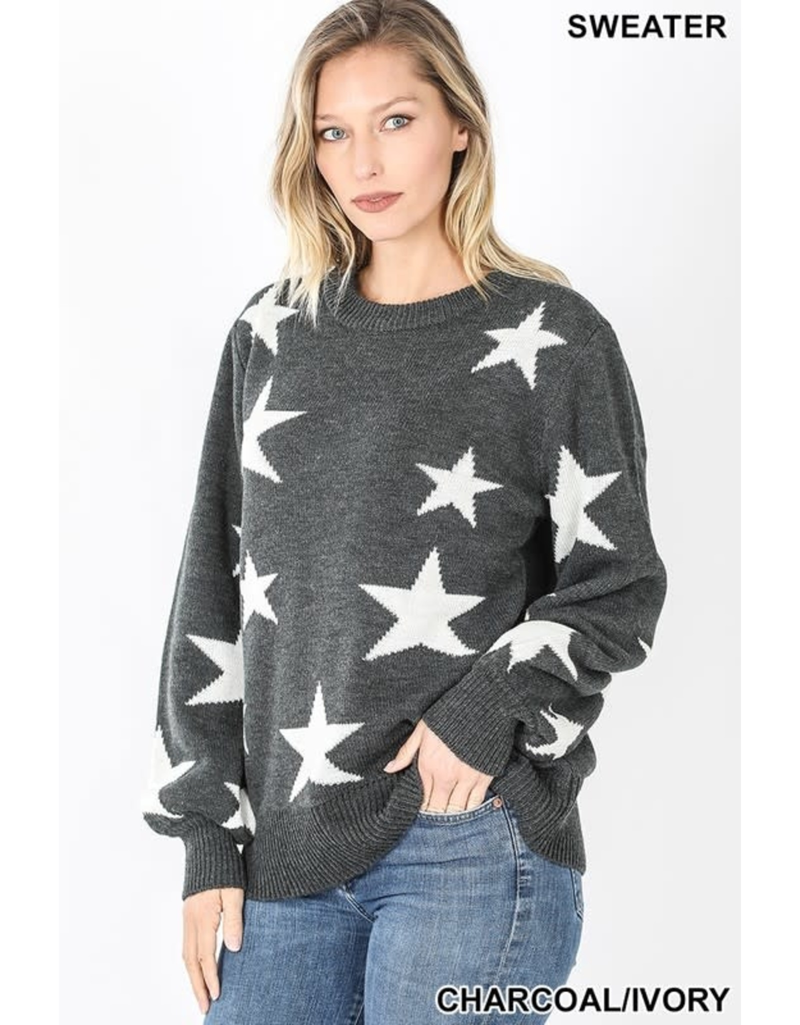 CHARCOAL / IVORY STAR PATTERN ROUND NECK SWEATER