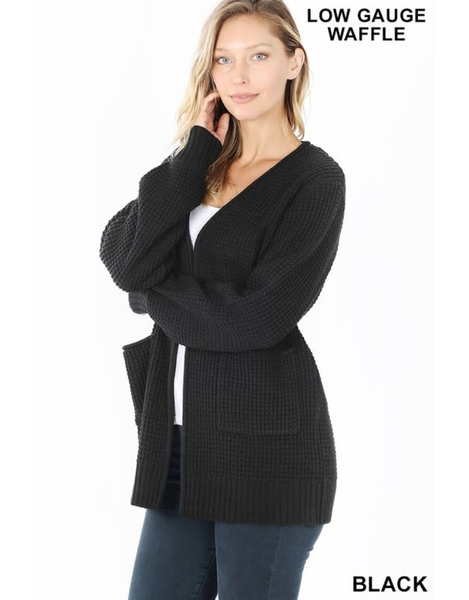 BLACK WAFFLE OPEN FRONT RELAXED FIT CARDIGAN