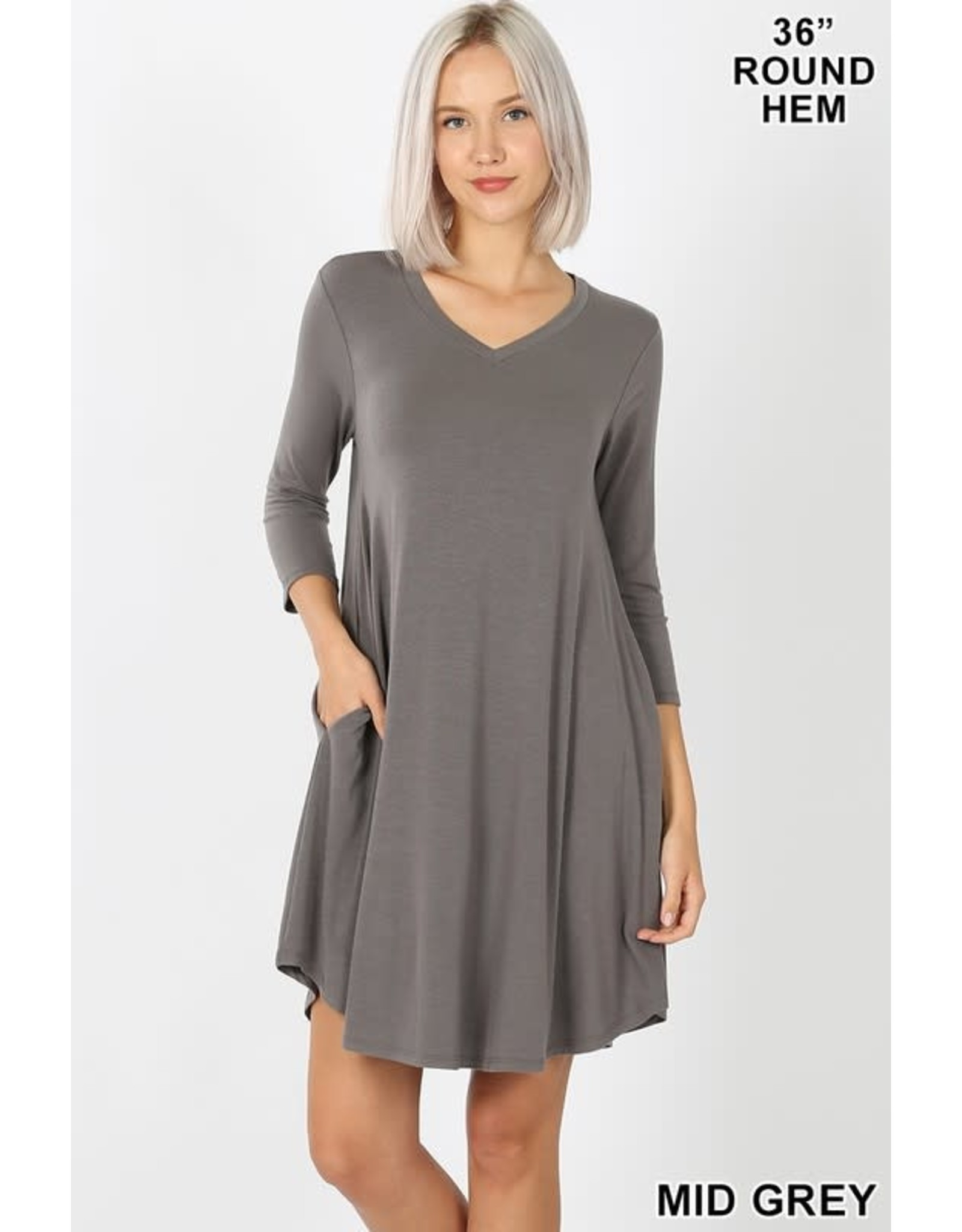 MID GREY 3/4 SLEEVE ROUND NECK DRESS W/ POCKETS