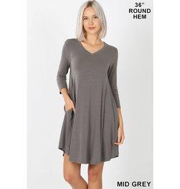 MID GREY 3/4 SLEEVE ROUND NECK DRESS W/ POCKETS