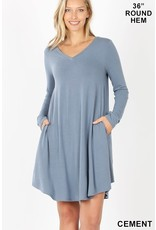 CEMENT LONG SLEEVE VNECK DRESS W/ POCKETS