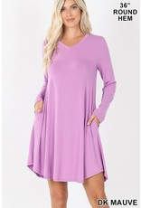 DK MAUVE LONG SLEEVE VNECK DRESS W/ POCKETS