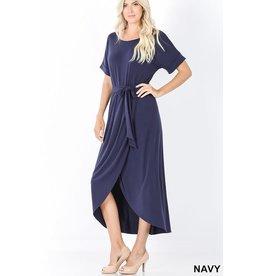 NAVY BELTED SHORT SLEEVE TULIP DRESS