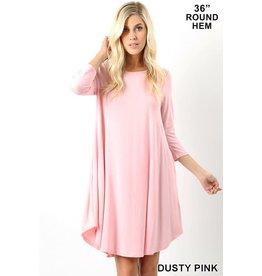 DUSTY PINK 3/4 SLEEVE ROUND NECK DRESS W/ POCKETS