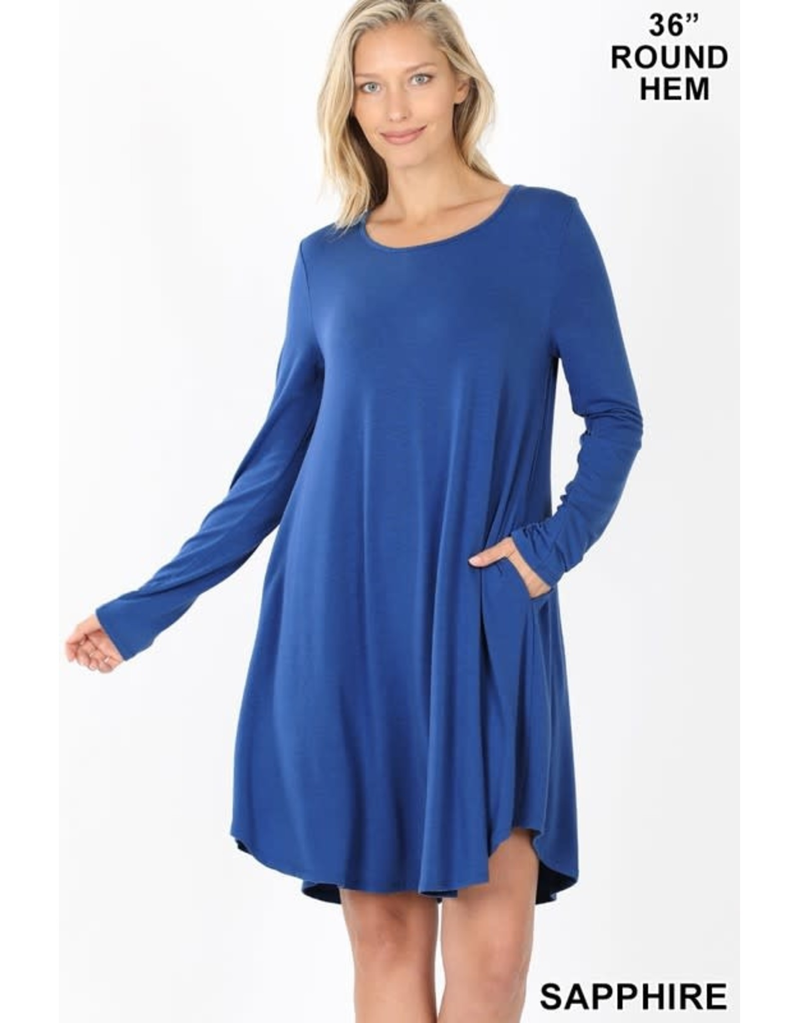 SAPPHIRE LONG SLEEVE ROUND NECK DRESS W/ POCKETS