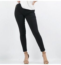 42POPS BLACK FRONT ZIPPER SUPER STRETCH TWILL PANTS