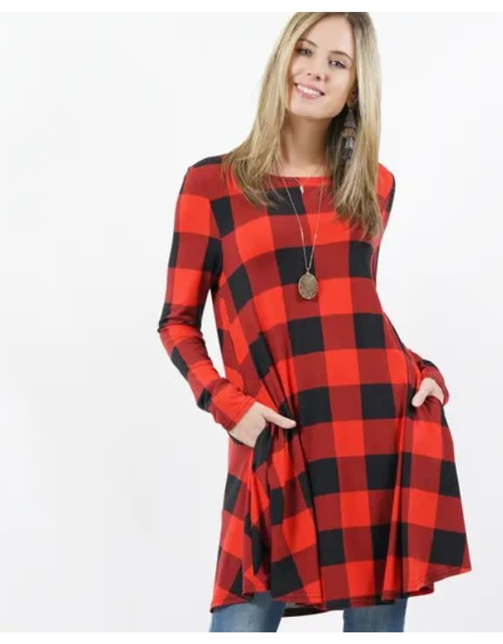 42POPS BLACK/RED BUFFALO PLAID LONG SLEEVE SIE POCKET TUNIC