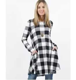 42POPS BLACK/WHITE BUFFALO PLAID LONG SLEEVE SIE POCKET TUNIC