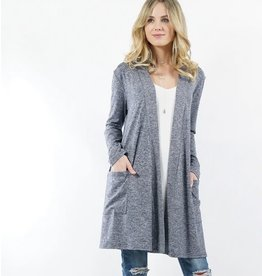 42POPS LONG SLEEVE HEATHERED POCKET CARDI