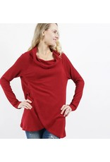 42POPS RUBY BRUSHED WAFFLE KNIT COWL TULIP FRONT TUNIC