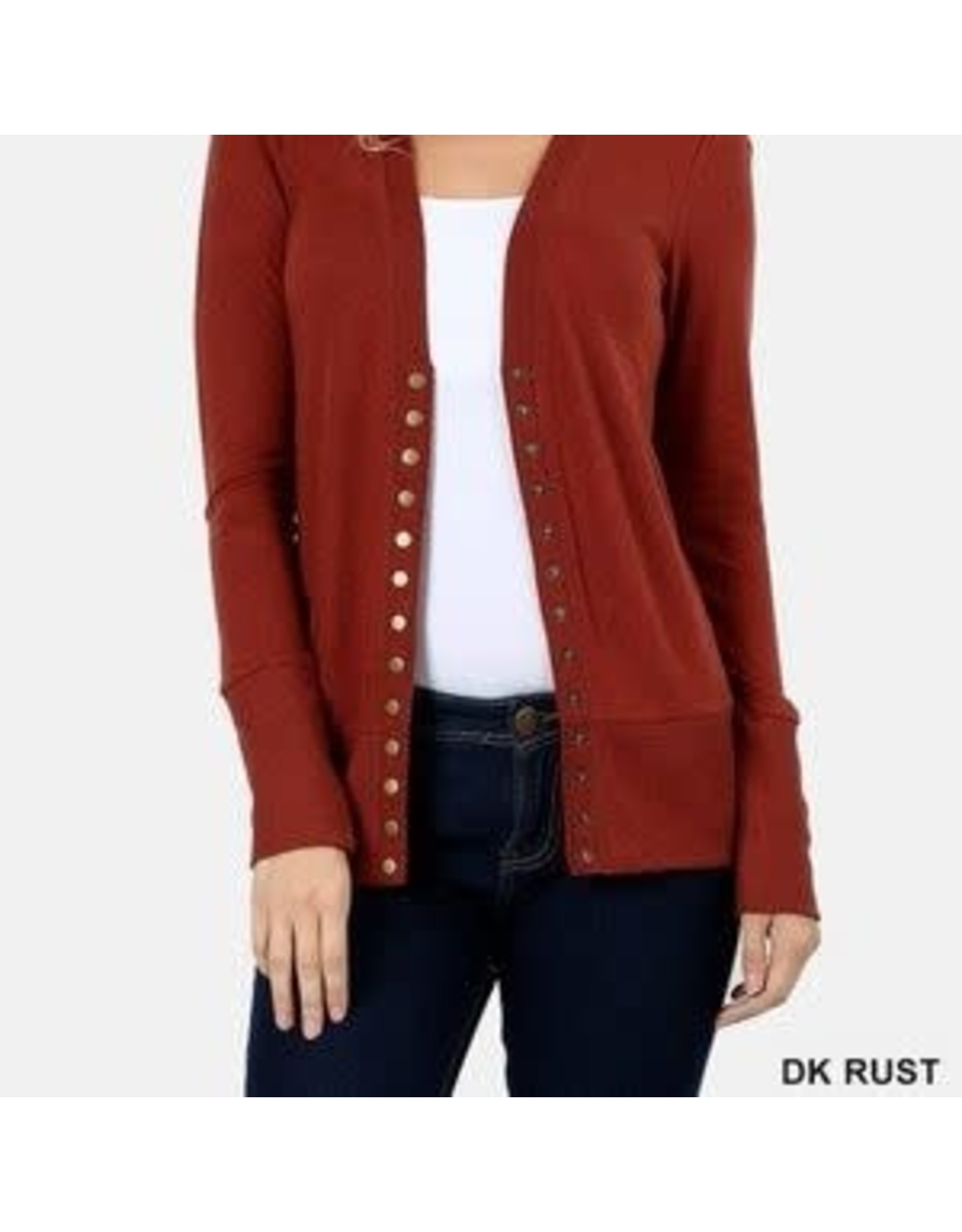 DK RUST SNAP BUTTON SWEATER CARDIGAN WITH RIBBED DETAIL