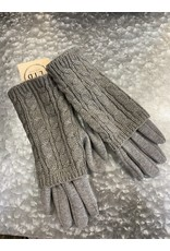 GLOVES - GRAY DOUBLE LAYER CABLE KNIT GL3540