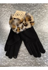 GLOVES - BLACK WITH LEOPARD FUR CUFF GL3551